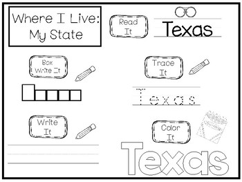 10 Where I Live No Prep Texas State Name Tracing and Activities. Geography. Dayc
