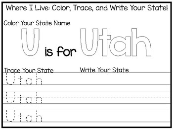 10 Where I Live No Prep Utah State Name Tracing and Activities. Geography. Dayca