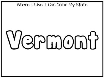 10 Where I Live No Prep Vermont State Name Tracing and Activities. Geography