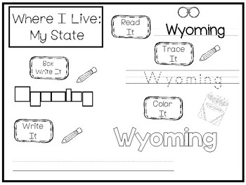 10 Where I Live No Prep Wyoming State Name Tracing and Activities. Geography