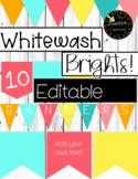 10 Whitewash Brights Editable Rainbow Banners