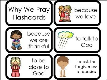 10 Why We Pray Printable Flashcards. Preschool-Elementary Bible Study.
