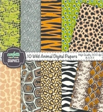 10 Wild Animal Digital Paper Background Zebra Leopard Cheetah Alligator Snake