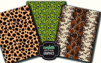 10 Wild Animal Digital Paper Background Zebra Leopard Cheetah Alligator Snake