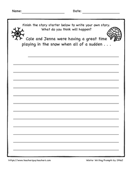 10 Winter Writing Prompts 3rd-6th Grade