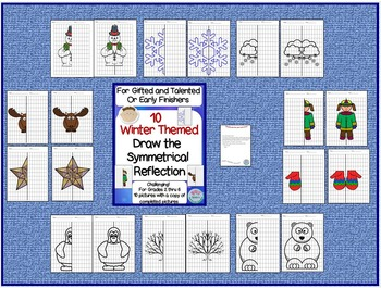 """10 Winter Themed """"Color the Symmetry Reflection"""" for GT and Early Finishers"""
