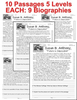 Susan Anthony 10 Women's History Month Biographies CLOSE READING LEVEL PASSAGES