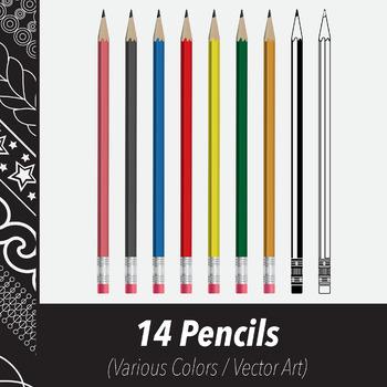 14 Wooden Pencils (Vector Art) Various Colors, Line Art Variations