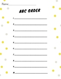 10 Word ABC Order Worksheet