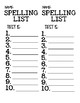 10-Word Spelling List and Test Template