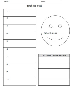 10-Word Spelling Test Form with Smiley Face
