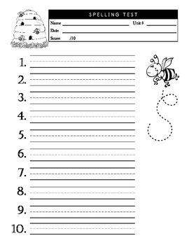 10 Word Spelling Test Master