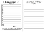 10 Word Spelling Test and Word List Sheet