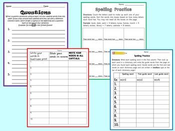 10-Word Spelling Worksheet Bundle