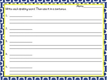 10 Word Spellling List - Blank Sentences Lines