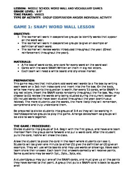 10 Word Wall Middle School Activities & Games For Geography and All Subjects