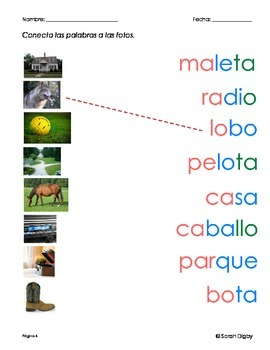 10 Worksheets – Connect Word to Picture (Spanish)