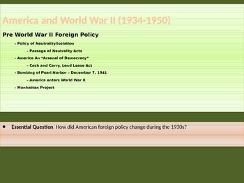10. World War II - Lesson 1 of 5 - Pre World War II Policy