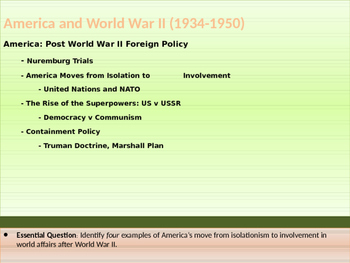 10. World War II - Lesson 4 of 5 - American Post World War II