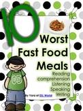 10 Worst Fast Food Meals {Reading comprehension}