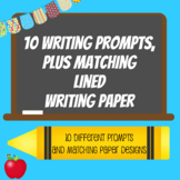 10 Writing Prompts, plus matching lined writing paper (10 different designs)