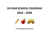 Back to School: 10-Year Calendar 2018-2028