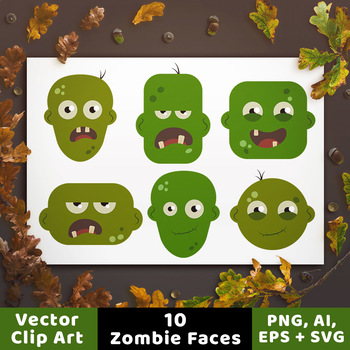 10 Zombie Head Clipart, Halloween Clipart, Zombie Clipart, Monster Clipart, SVG