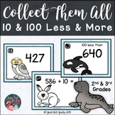 10 and 100 Less and More Arctic Animals Task Card Activity
