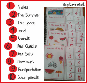 """10 basic math adapted books """"I can count to 10"""". English and Spanish editions."""