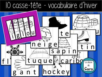 10 casse-tête de vocabulaire d'hiver  - (French-FSL)