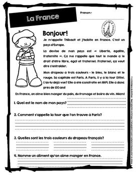 10 compréhensions de lecture (Autour du monde) / FRENCH READING COMPREHENSION