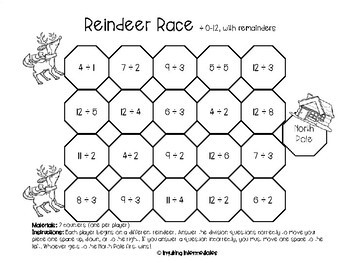 10 differentiated Reindeer Race Math Games -12 Days of Christmas Freebies -Day 3