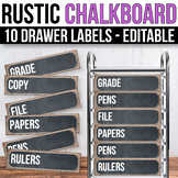10 drawer Cart Labels Editable, Sterilite Drawer Labels EDITABLE ChalkboardTheme