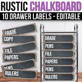 10 drawer Cart Labels Editable Sterilite Drawer Labels EDITABLE Chalkboard Theme