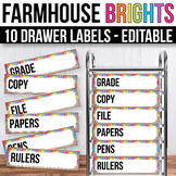 10 drawer Cart Labels Editable, Sterilite Drawer Labels EDITABLE Farmhouse Theme