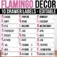 10 drawer Cart Labels Editable, Sterilite Drawer Labels EDITABLE Flamingo Theme
