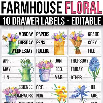 10 drawer Cart Labels Editable, Sterilite Drawer Labels EDITABLE Floral Decor