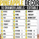 10 drawer Cart Labels Editable, Sterilite Drawer Labels EDITABLE Pineapple Theme
