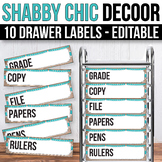 10 drawer Cart Labels Editable, Sterilite Drawer Labels EDITABLE Shabby Chic