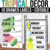 10 drawer Cart Labels Editable, Sterilite Drawer Labels EDITABLE Tropical Theme
