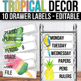10 drawer Cart Labels Editable Sterilite Drawer Labels EDITABLE Tropical Theme