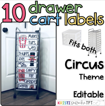 10 drawer cart labels- EDITABLE - Circus Theme