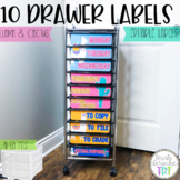 10 drawer cart labels - EDITABLE - Llama and Cactus