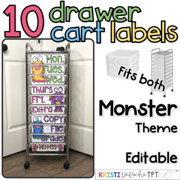 10 drawer cart labels- EDITABLE - Monster