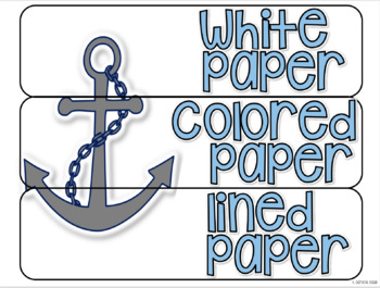 10 drawer cart labels- EDITABLE - Nautical