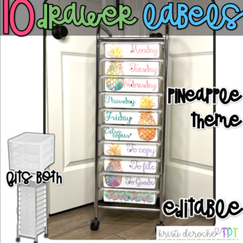 10 drawer cart labels- EDITABLE - Pineapple