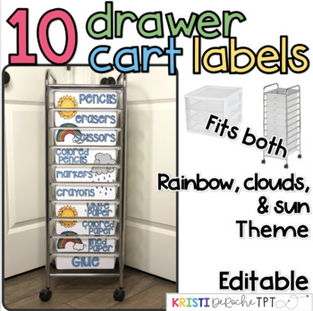 10 drawer cart labels- EDITABLE - Rainbow, Sun, and Clouds