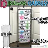 10 drawer cart labels- EDITABLE - Succulent Theme