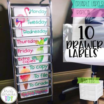 10 drawer cart labels- EDITABLE- Tropical Theme