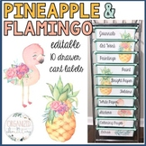 10 drawer cart labels EDITABLE | pineapple and flamingos
